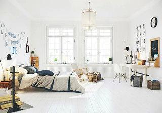 北欧风格白色明亮卧室吊顶装修效果图
