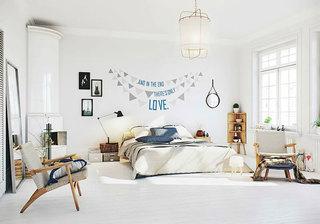 北欧风格清新卧室背景墙装修效果图
