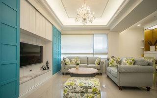 地中海风格蓝白客厅装修效果图