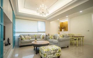 地中海风格白色客厅吊顶装修效果图