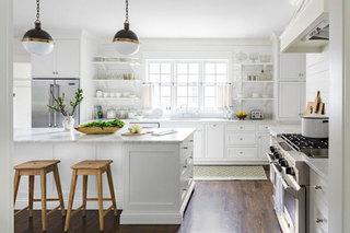 美式田园风优雅白色开放式厨房装修效果图