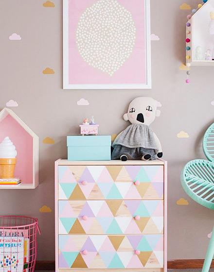 彩色清新儿童房收纳柜