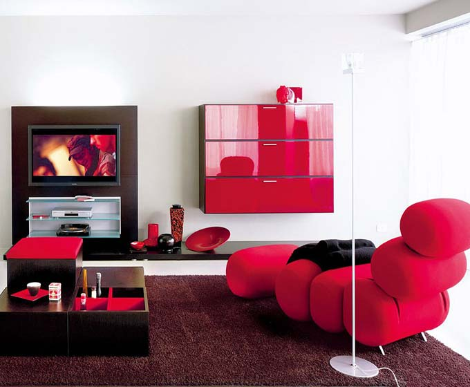 红色系客厅图片