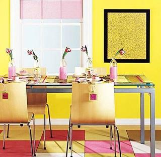 黄色系餐厅装饰图