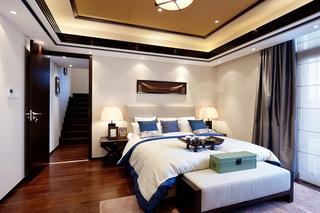 254平新中式别墅卧室床尾凳图片