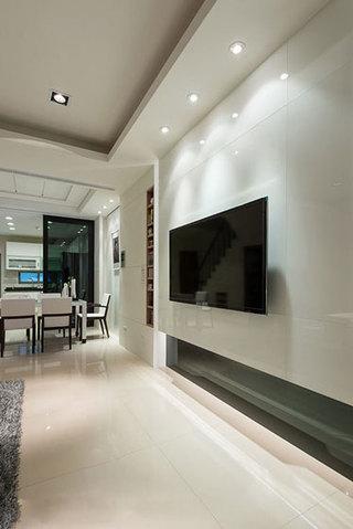 现代简约时尚白色电视背景墙装修效果图