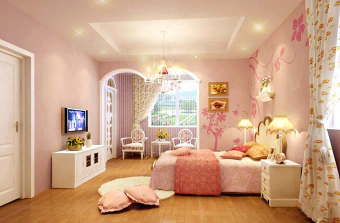 粉色起居室图