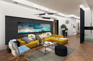 姜黄色暖心客厅沙发设计效果图
