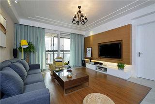 宁静现代新中式客厅效果图