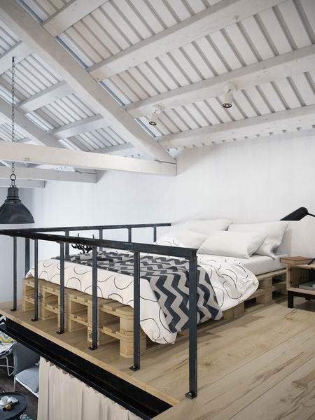 精致阁楼公寓垫仓板卧室床效果图