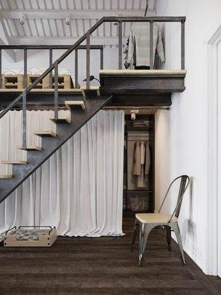 精致阁楼公寓布帘衣帽间装修效果图