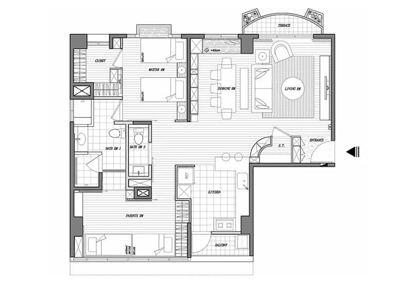 115平两居室户型平面图