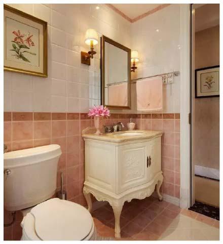 粉色系洗手台设计视图