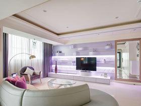 白色和紫色相遇 65平唯美古典小户型装修