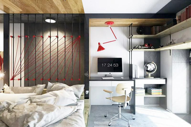 18平Loft挑高小公寓卧室带书房装修