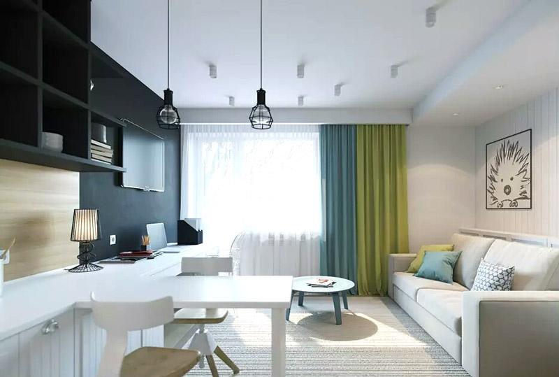 27平简约公寓白色吧台装修