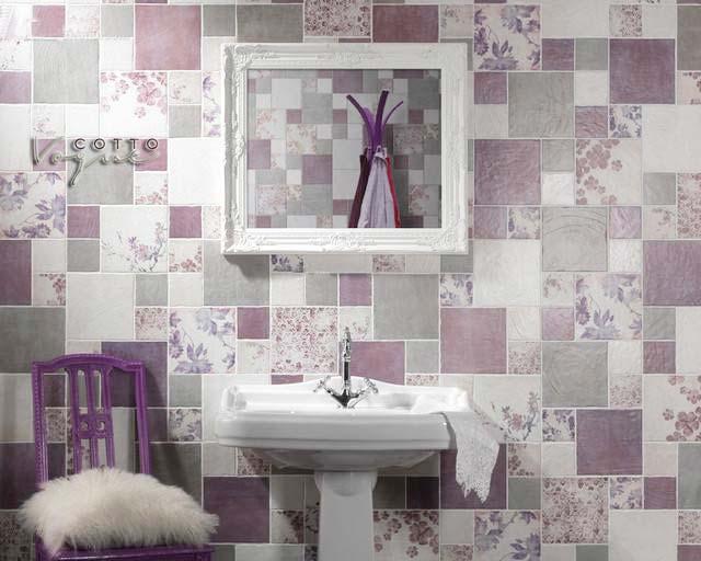 紫色系卫生间洗手池效果图