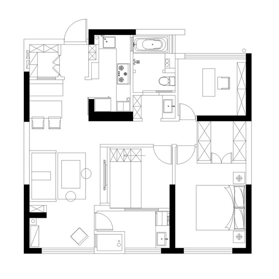 89㎡东南亚风格房子装修设计图