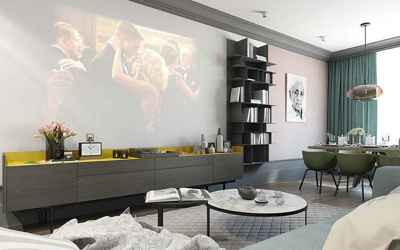 150平北欧投影仪电视背景墙设计