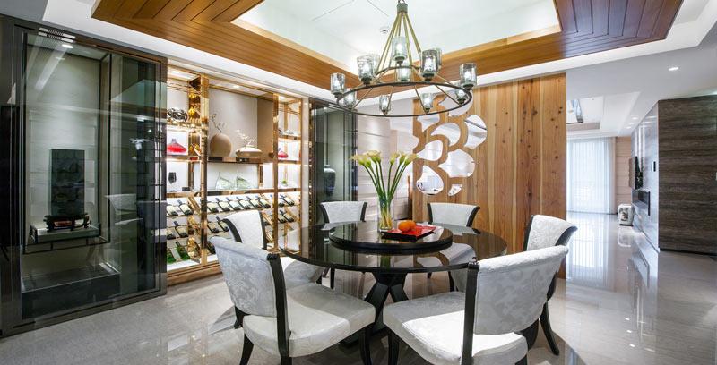 180平米中式混搭豪华餐厅装修设计