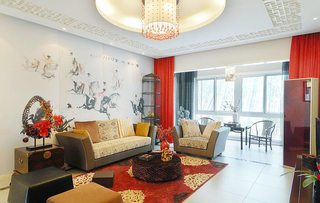 典雅气质中式客厅背景墙效果图