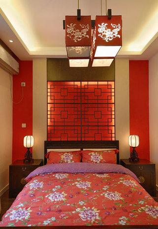 104平米气质中式卧室背景墙装饰图片
