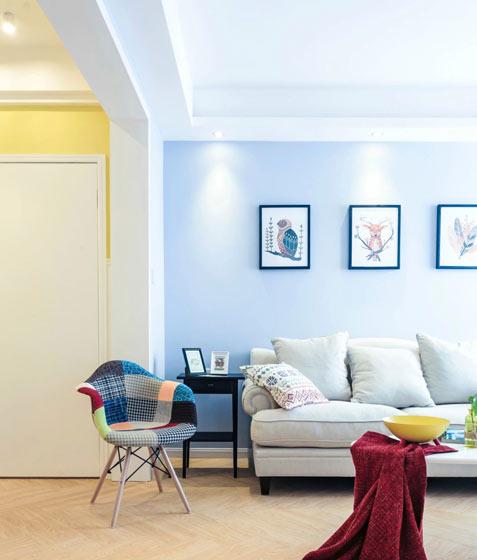 93平三室两厅北欧清新客厅图片