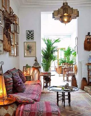 波西米亚风情客厅沙发垫图片