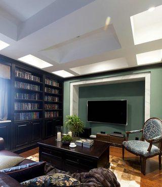 200平米美式书房电视背景墙设计图