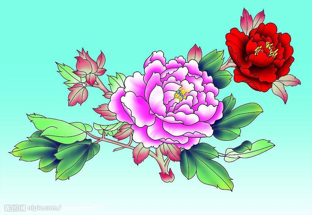 花瓣是曙黄,边缘用毛笔蘸水过渡,等干了再反复,正面的叶子是花青