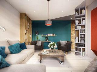 多样色彩混搭风小公寓客厅吊顶图片