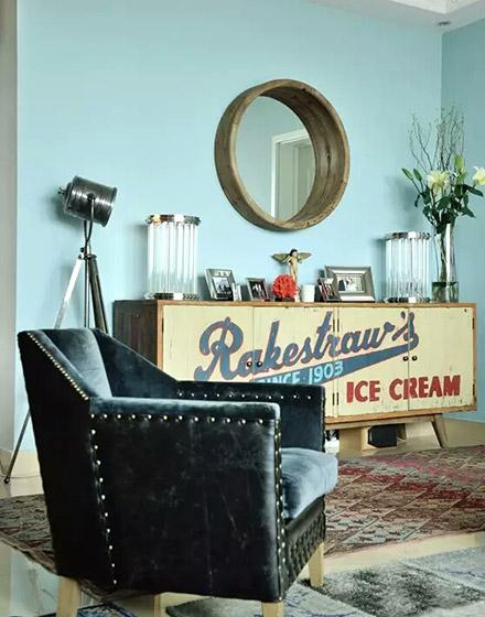90平混搭风格客厅单人沙发图