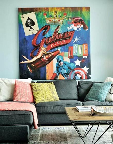 90平混搭风格客厅布艺沙发设计