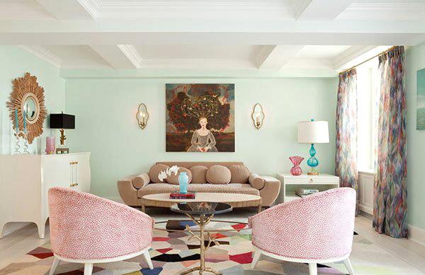 可爱客厅粉色沙发设计
