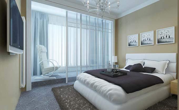 简约风卧室阳台布置图