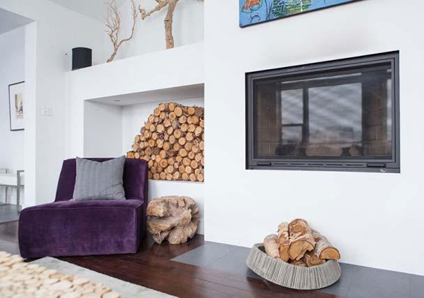 现代北欧风客厅壁炉效果图
