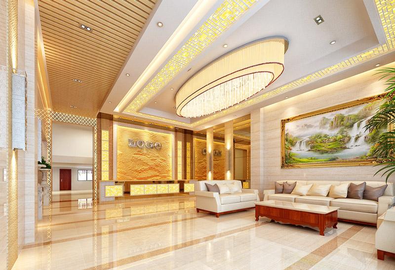 中式风格酒店大厅吊顶效果图图片