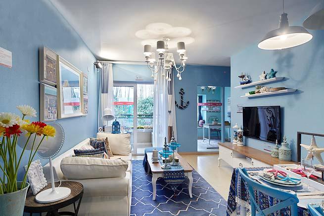 精致蓝色地中海风情客厅整体图片