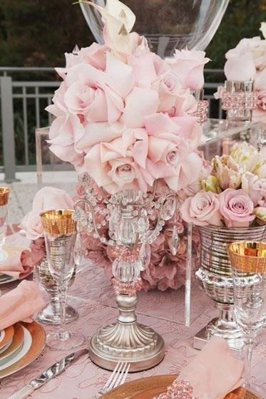 欧式田园粉色餐桌花卉布置装饰