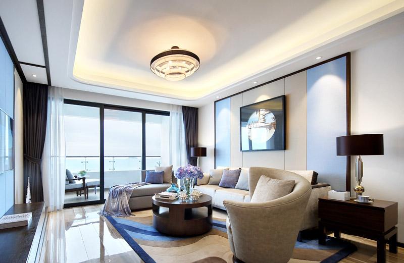 109平简约两居室客厅吊顶装修