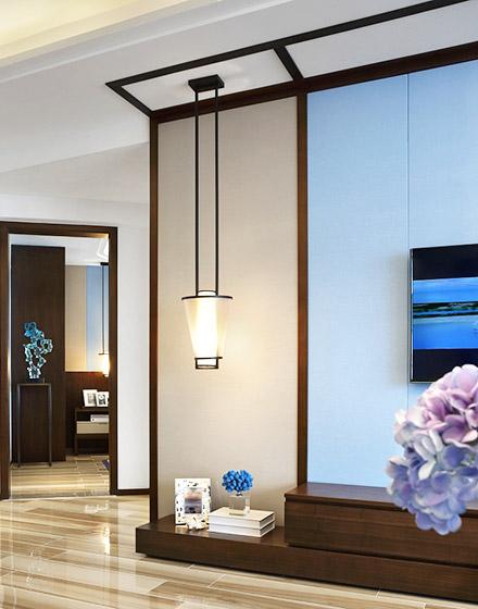 109平简约两居室客厅吊灯设计