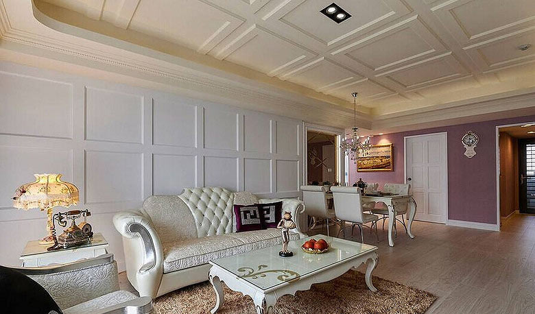 112平欧式风格华丽客厅沙发背景墙