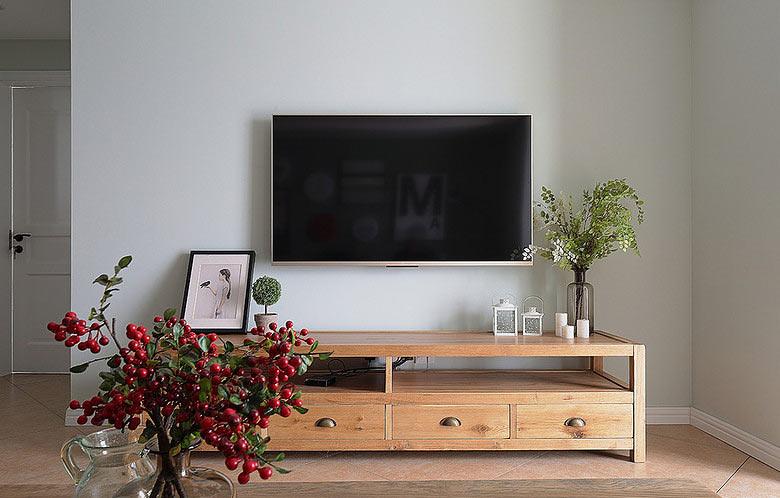 75平美式风格白色客厅电视背景墙