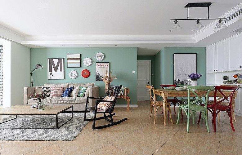 75平美式风格简洁客餐厅吊顶图片