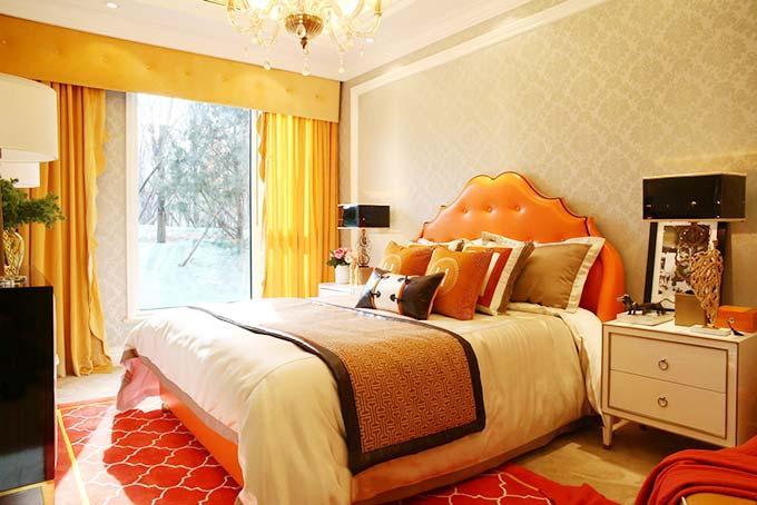 甜美橙欧式卧室设计效果图