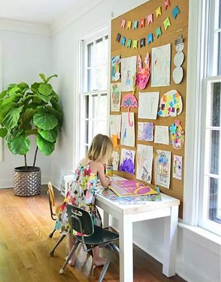 实用书房软木背景墙图片