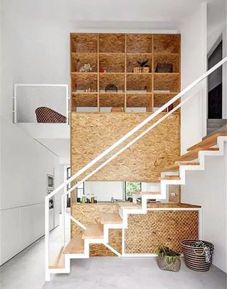 创意楼梯收纳软木背景墙