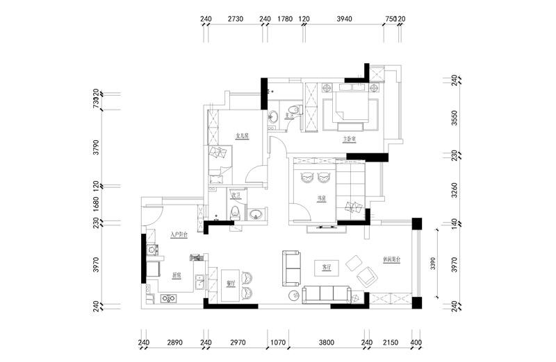 北欧风格三室两厅平面设计图