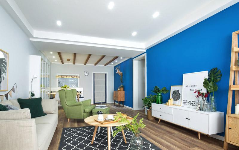 北欧风格三室两厅客厅蓝色背景墙图片