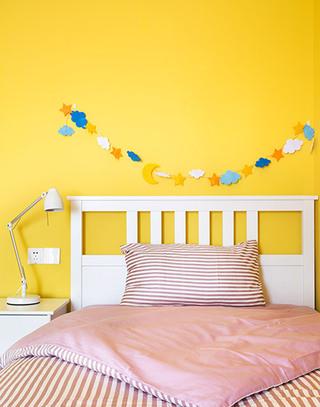 活力柠檬黄北欧风 儿童房背景墙设计